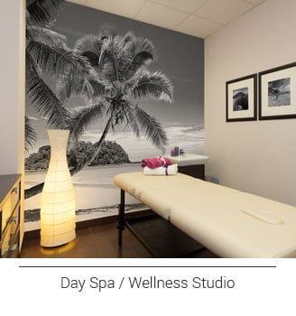 day spa palm tree on a beach landscape grayscale wall art