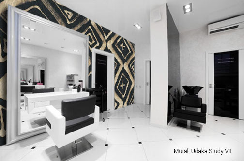 Udaka Study VII abstract artist anchoring a wall in a black and white modern beauty salon
