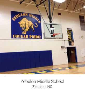 blue and yellow Zebulon Middle School gym mural advertising their cougar pride and school colors