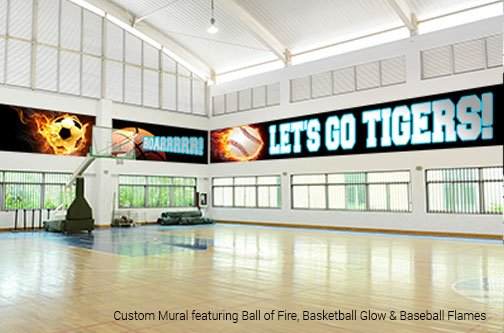 school gymnasium mural cheering on the various sport teams such as soccer, baseball, basketball, volleyball