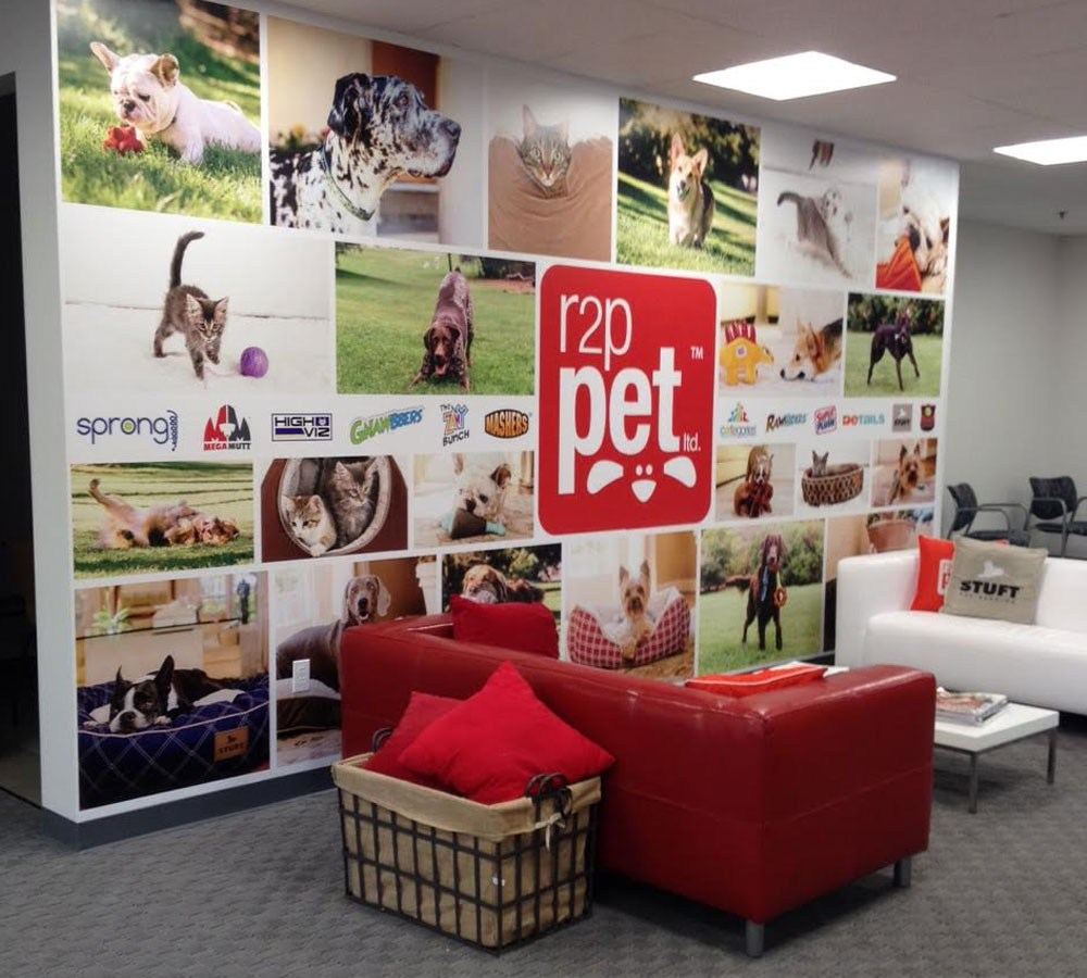 colorful collage of pet animal photos branded with r2p pet company logo and sponsor logos in center